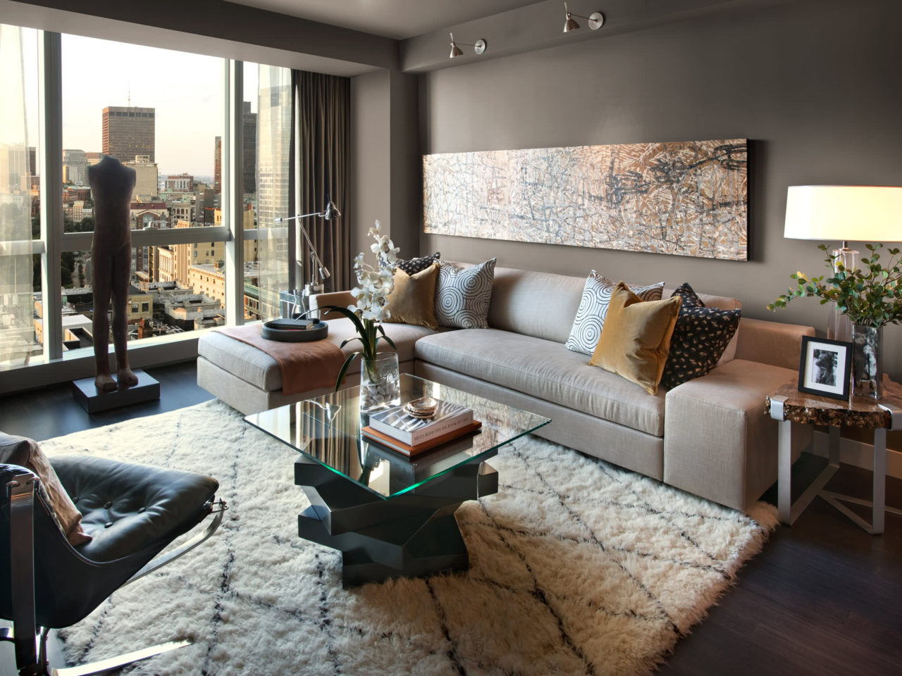 Living room of the HGTV Urban Oasis 2013 located in Boston, MA.